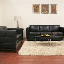 Baxton Studio Rohn Modern Leather Loveseat and Sofa Set