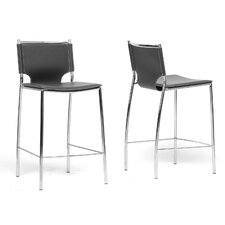 Baxton Studio Montclare Bonded Leather Modern Counter Stool (Set of 2)