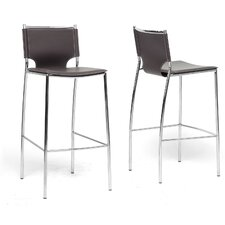 Baxton Studio Montclare Bonded Leather Modern Barstool (Set of 2)