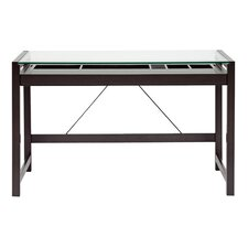 <strong>Wholesale Interiors</strong> Baxton Studio Idabel Wood Modern Writing Desk with Glass Top