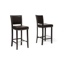 Baxton Studio Aries Bar Stool with Nail Head Trim (Set of 2)