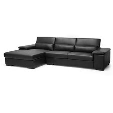 Baxton Studio Dolan Leather Sectional with Left Facing Chaise