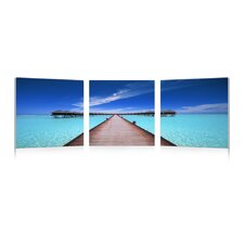 Baxton Studio Overwater Bungalow Mounted 3 Piece Photographic Print on Canvas Set