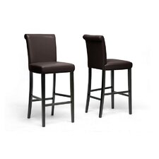 "<strong>Wholesale Interiors</strong> Baxton Studio Bianca 30"" Bar Stool with Cushion (Set of 2)"