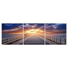 Baxton Studio Pier Sunrise Mounted 3 Piece Photographic Print on Canvas Set
