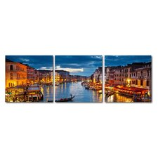 Baxton Studio Early Evening Venetian Canal 3 Piece Photographic Print on Canvas Set