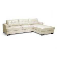 Baxton Studio Dobson Leather Chaise Sectional