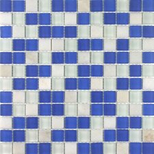 "<strong>Giorbello</strong> Glacier Mountain 11-3/4"" x 11-3/4"" Tile with Squares in Ocean Voyage"