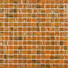 "<strong>Giorbello</strong> Gold Leaf 12-7/8"" x 12-7/8"" Glass Tile in Honey Red"