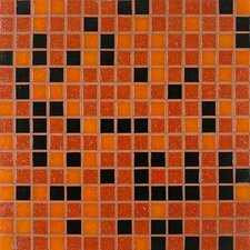 "<strong>Giorbello</strong> Tesserae Blends 12-7/8"" x 12-7/8"" Glass Tile in Midnight Fire"