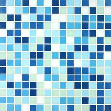 "<strong>Giorbello</strong> Tesserae Blends 12-7/8"" x 12-7/8"" Glass Tile in Pacific Lagoon"