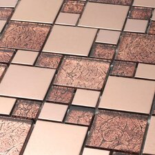 "Venetian 11-7/8"" x 11-7/8"" Glass and Aluminum Tile in Satin Copper"