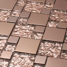 "<strong>Giorbello</strong> Venetian 11-7/8"" x 11-7/8"" Glass and Aluminum Tile in Copper Goddess"
