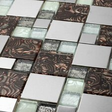 "Venetian 11-7/8"" x 11-7/8"" Glass and Aluminum Tile in Florence"