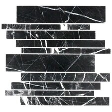 "Stone Club 10-1/2"" x 9-1/2"" Tile in Black Maquina Marble"