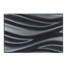 "3D 12"" x 8"" Sea Wave Glass Tile in Black"