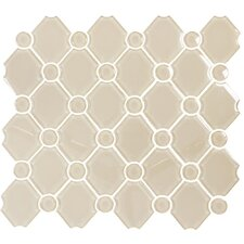 "Water Jet 13-2/5"" x 11-4/5"" Glass Tile in Classical Sand Storm"
