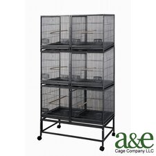 <strong>A&E Cage Co.</strong> 3 Level Bird Cage with 3 Removable Dividers and 6 Units