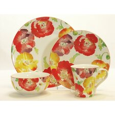 Jolly Poppy 16 Piece Dinnerware Set