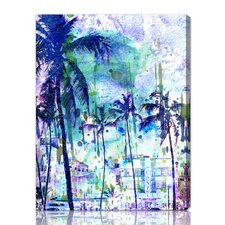 """Purple Miami"" Graphic Art on Canvas"