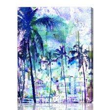 Purple Miami Graphic Art on Canvas