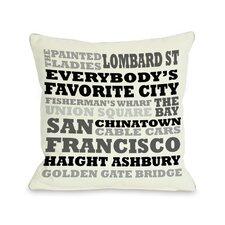 San Francisco Subway Style Words Pillow