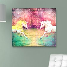 """Unicorns Dusk"" Canvas Art Print"
