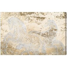Gold Equestrian Graphic Art on Canvas