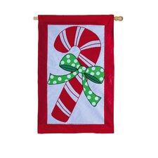 Candy Cane Christmas Applique Vertical Flag