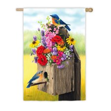 Bouquet Birdhouse Vertical Flag