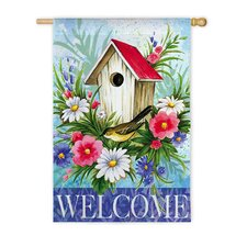 Birdhouse Welcome Garden Flag