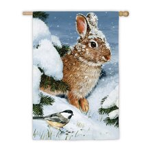Winter Cottontail Garden Flag