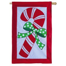 Candy Cane Christmas Applique Vertical Flag