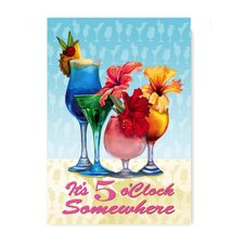 Flowery 5 O'Clock Somewhere Garden Flag