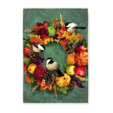 Fall Floral Wreath Garden Flag