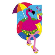 Flamingo on a Float Garden Flag