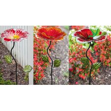 Hummingbird and Flowers with Garden Stake Decorative Platform/Tray Bird Feeder (Set of 3)