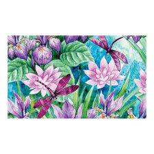Irises and Dragonflies Floormat
