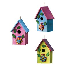 Floral Fun Hanging Birdhouse (Set of 3)