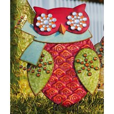 Holiday Shine Owl with Scarf Statue Christmas Decoration