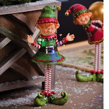 Jolly Christmas Elf with Lights Statue