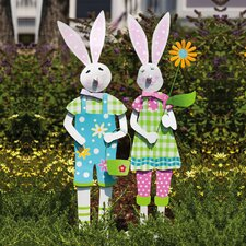 Mr. and Mrs. Spring Rabbits Garden Stake (Set of 2)