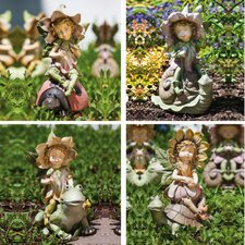 Garden Friends and Fairy Playmate Statue (Set of 4)