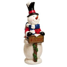 Wishes Snowman Welcome Statue Christmas Decoration