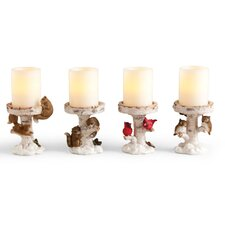 4 Piece Carved Polystone Candlestick Set (Set of 4)