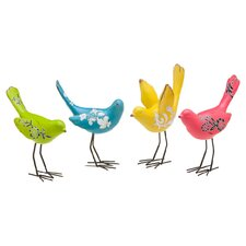 4 Piece Bird Sitabout Figurine