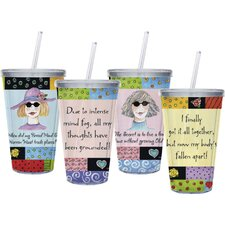 17 oz. Insulated Cup with Straw (Set of 4)