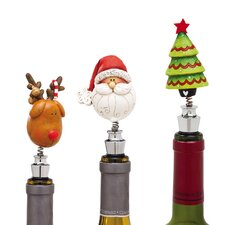 3 Piece Happy Holly Days Bobblehead Winestopper Set