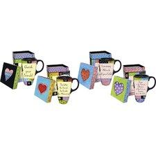 Inspirational 17 oz. Boxed Ceramic Latte Travel Mug (Set of 4)