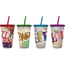 Texting 17 oz. Insulated Cup with Straw (Set of 4)